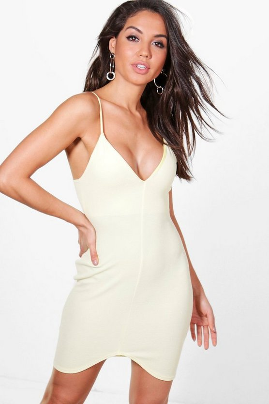 Hattie Plunge Curve Hem Bodycon Dress