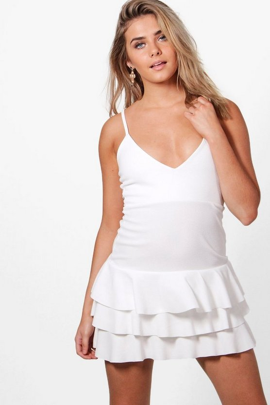 Frances Layered Frill Hem Bodycon Dress