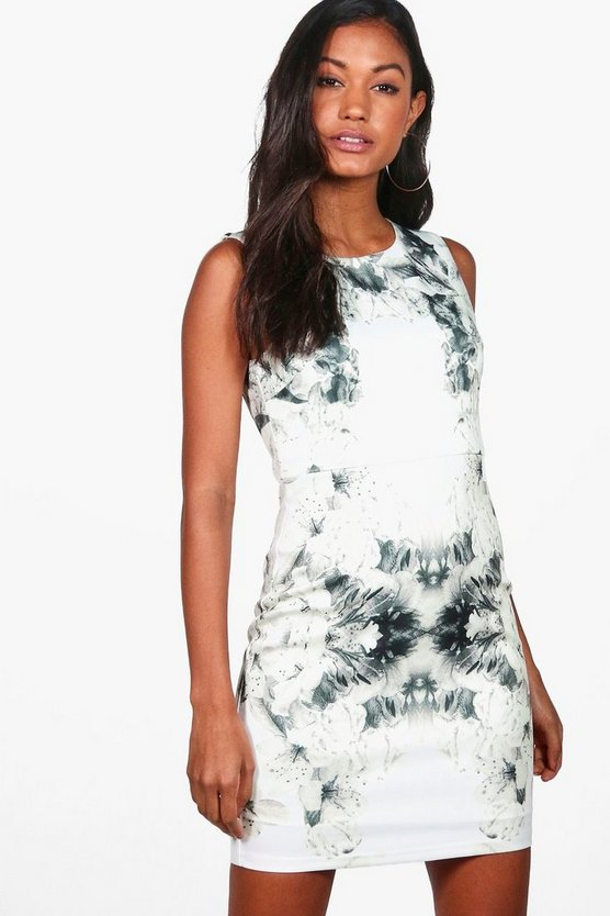 Mia Placement Print Sleeveless Bodycon Dress