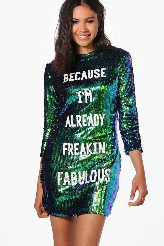 Boutique Jay Sequin Slogan Bodycon Dress