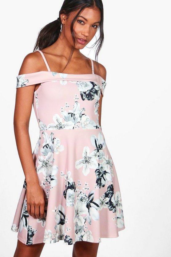 Petra Floral Print Cold Shoulder Skater Dress