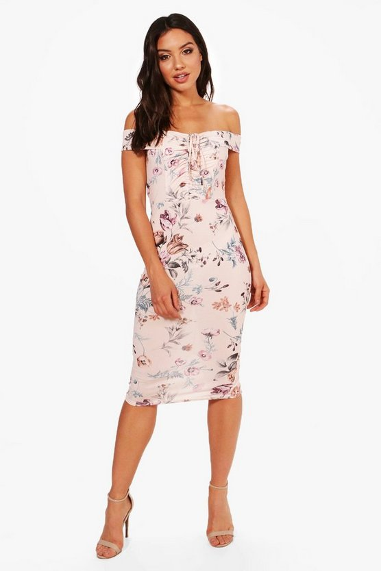 Ava Floral Print Off Shoulder Ruched Midi Dress