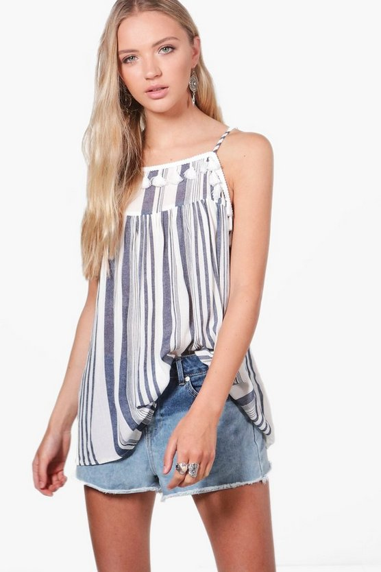 Holly Stripe Pom Pom Trim Cami