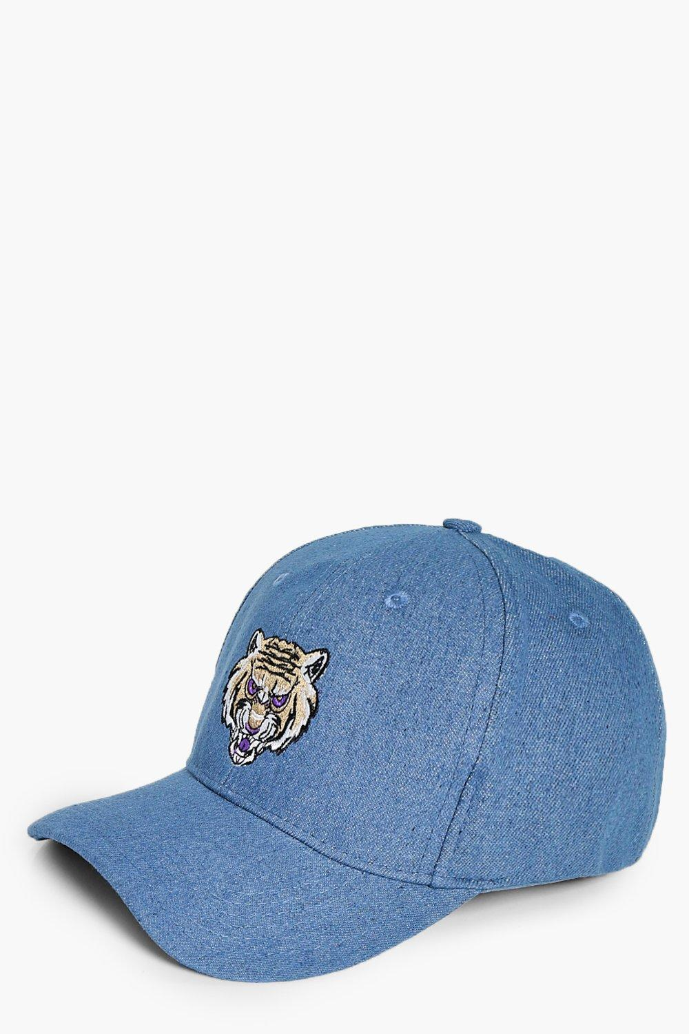 Embroidered Tiger Denim Cap - blue - Willow Embroi