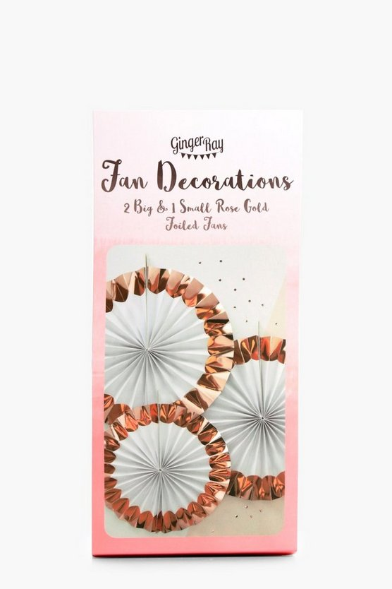 Bride Rose Gold Fan Decorations 3 Pack