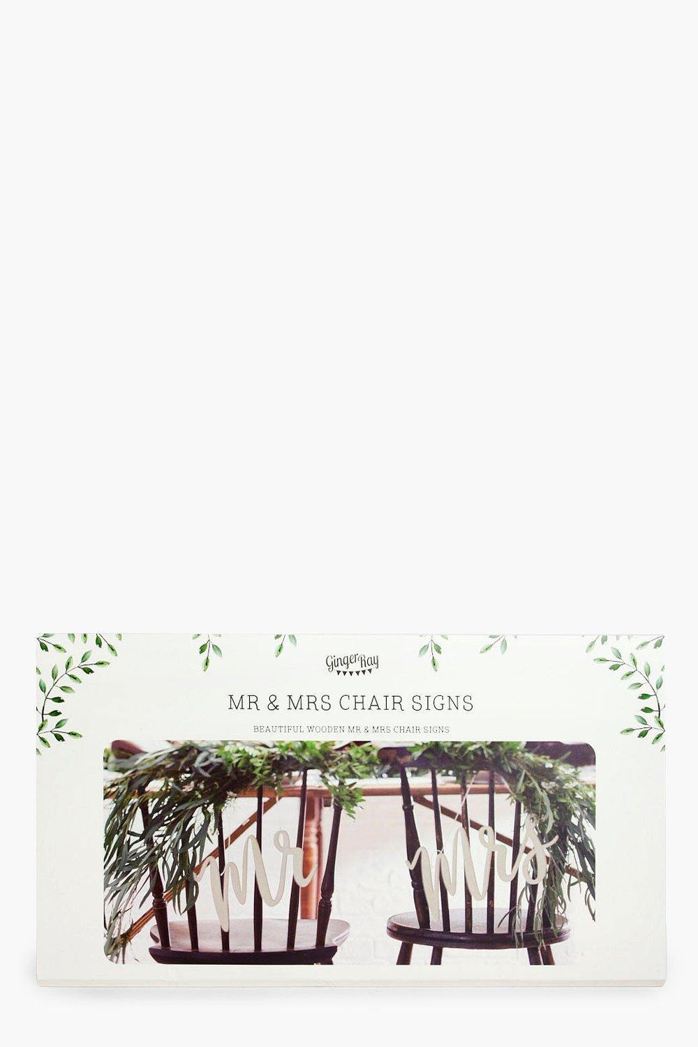 Wooden Mr & Mrs Chair Signs - white - Wedding Wood
