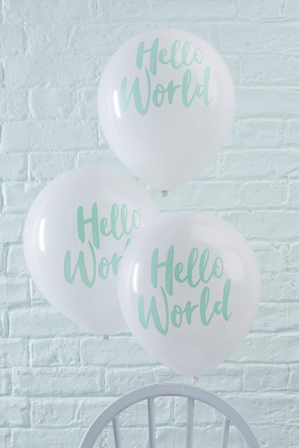 Shower Hello World Balloons 10 Pack - mint - Baby