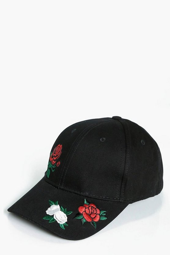 Niamh Red Rose Embroidered Cap