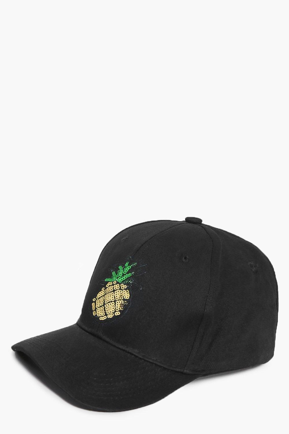 Sequin Pineapple Baseball Cap - black - Madison Se
