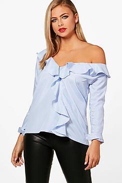 Florence asymmetrischer gestreifte Bluse mit Rüschenärmeln - Boohoo.com