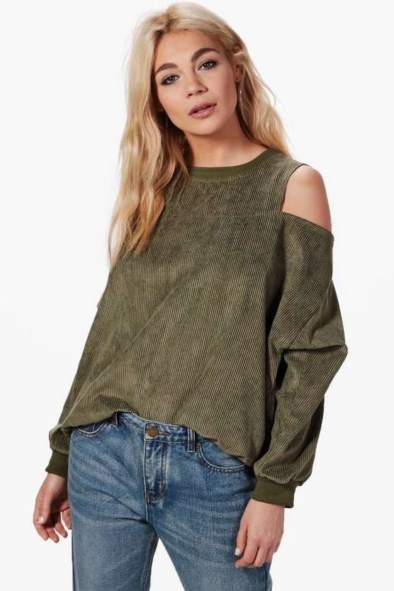 Ava Oversized Cord Cold Shoulder Sweat