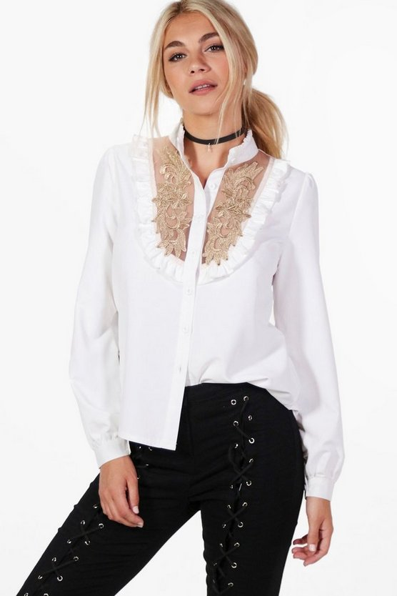 Emily Embroidered Ruffle High Neck Shirt