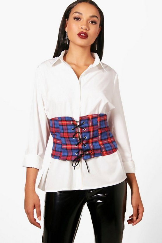 Charlie Check Corset Belt Oversized Shirt