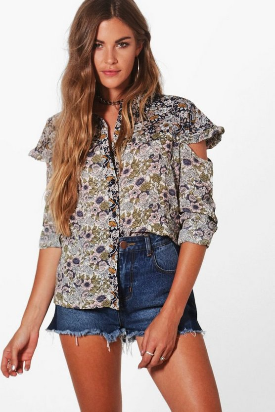 Alice Mix Print Cut Out Shoulder Shirt