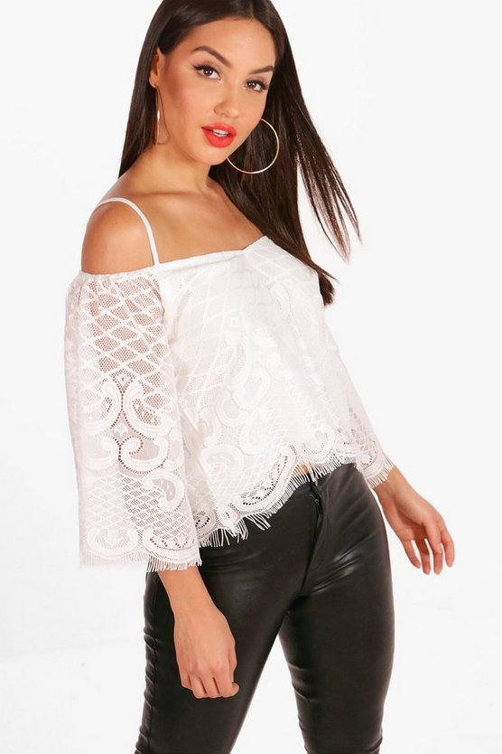 Tabitha Lace Cold Shoulder Flare Sleeve Crop
