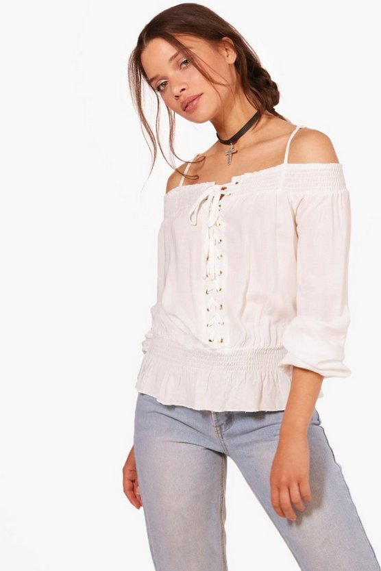 Lace Up Eyelet Shirred Cold Shoulder Blouse by Boohoo