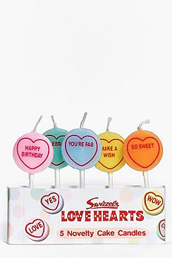 Love Hearts Pack of 5 Birthday Candles