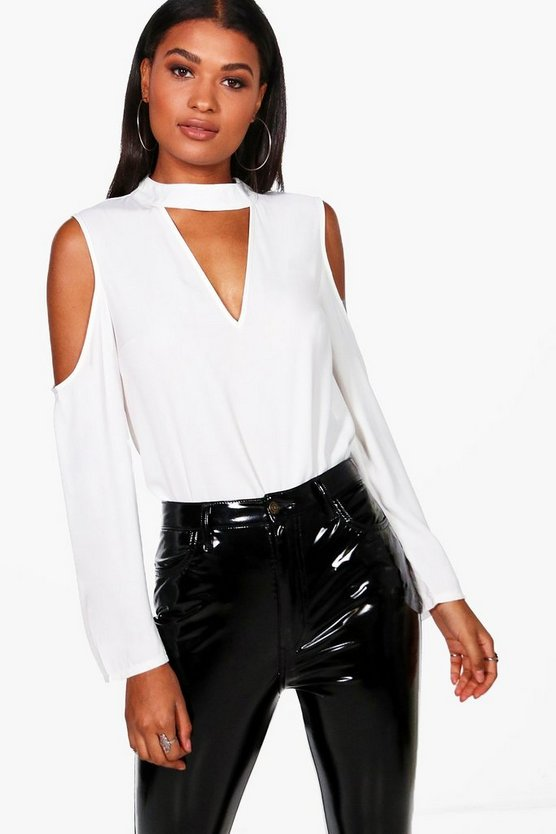 Yasmin Cold Shoulder Choker Neck Blouse