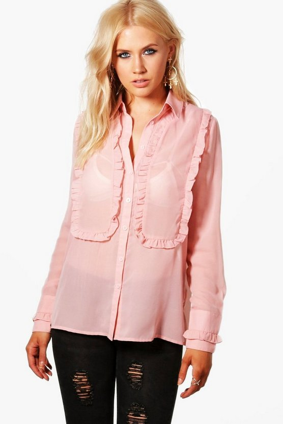 Ruffle Front And Cuff Shirt