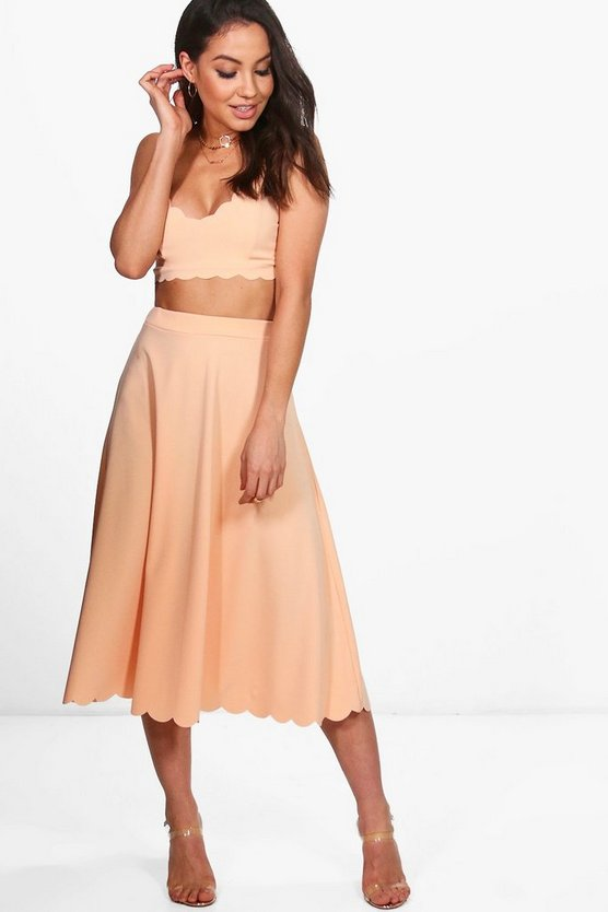 Katerina Scallop Bralet & Midi Skirt Co-Ord Set