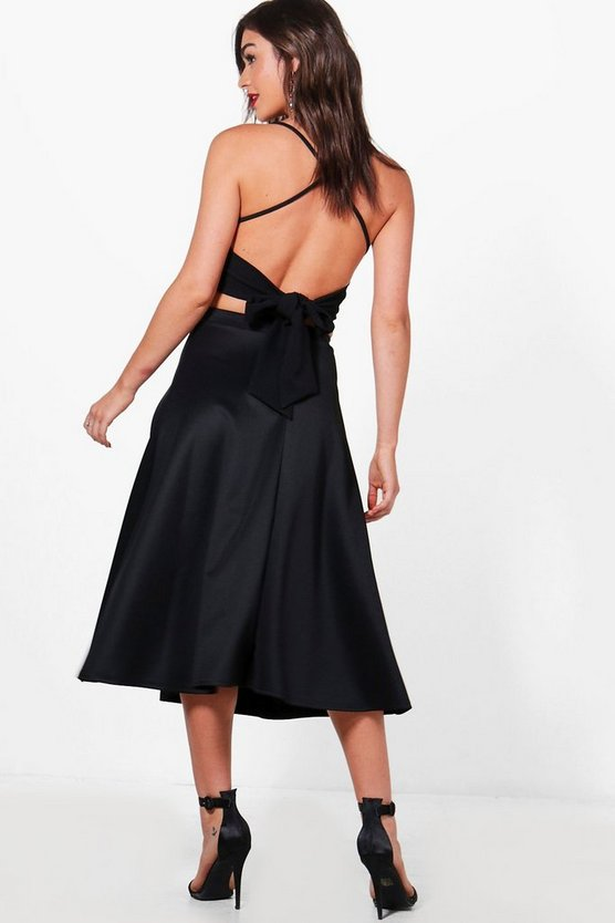 Lydia Bow Back Crop & Midi Skirt Co-Ord Set