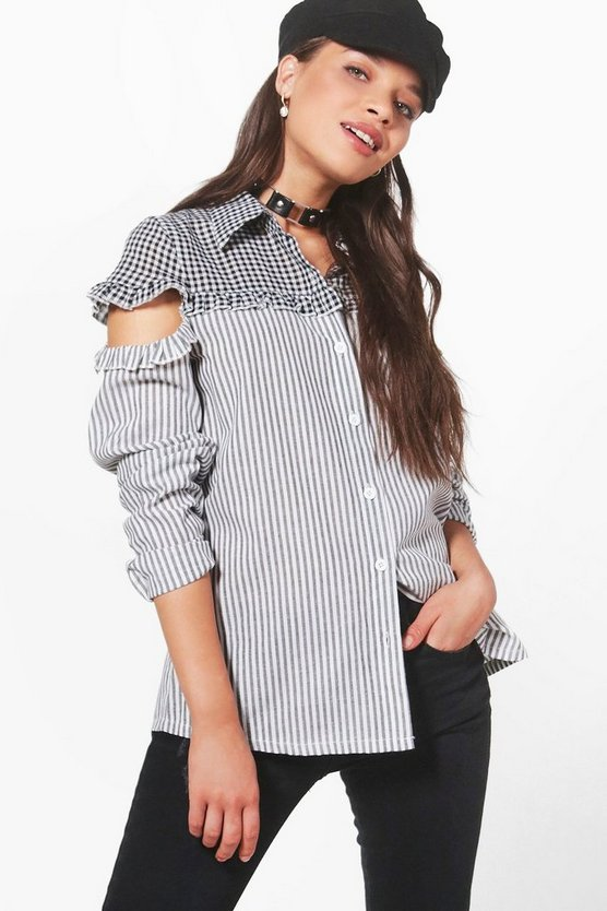 Helena Striped And Gingham Ruffle Shoulder Shirt