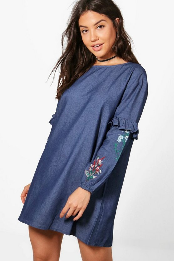 Faye Frill Embroidery Denim Smock Dress