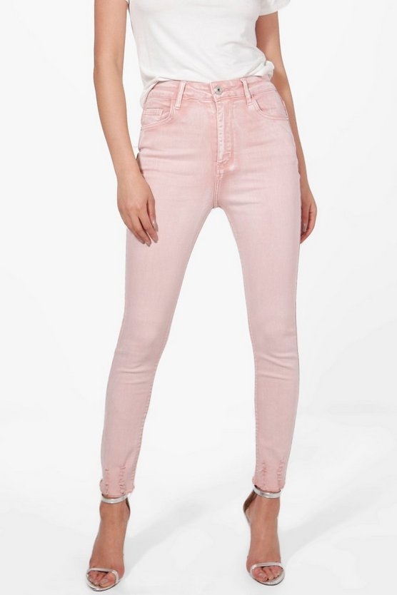 Sofia High Rise Distressed Hem Skinny Jeans