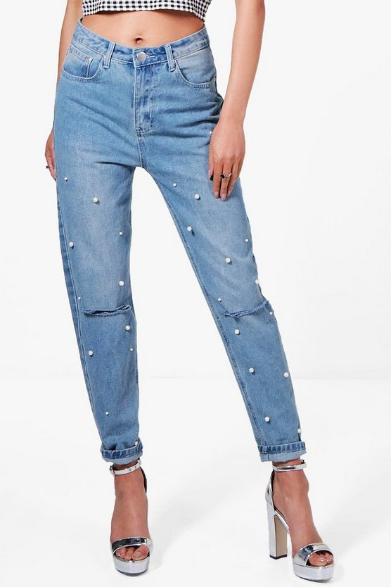 Hannah Slim Fit Pearl Detail Mom Jeans