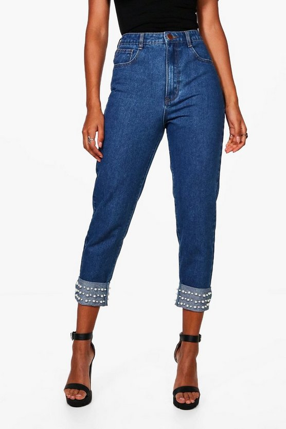 Hetty High Pearl Hem Boyfriend Jeans