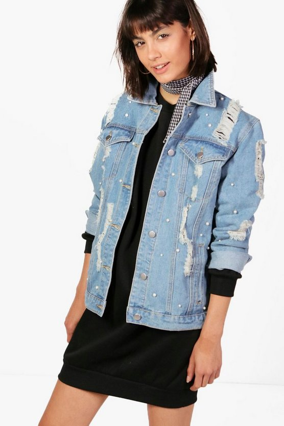 Jodie Oversize Pearl Denim Jacket