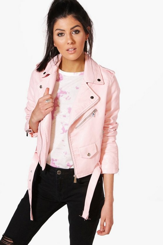 Maria Crop Leather Look Biker Jacket
