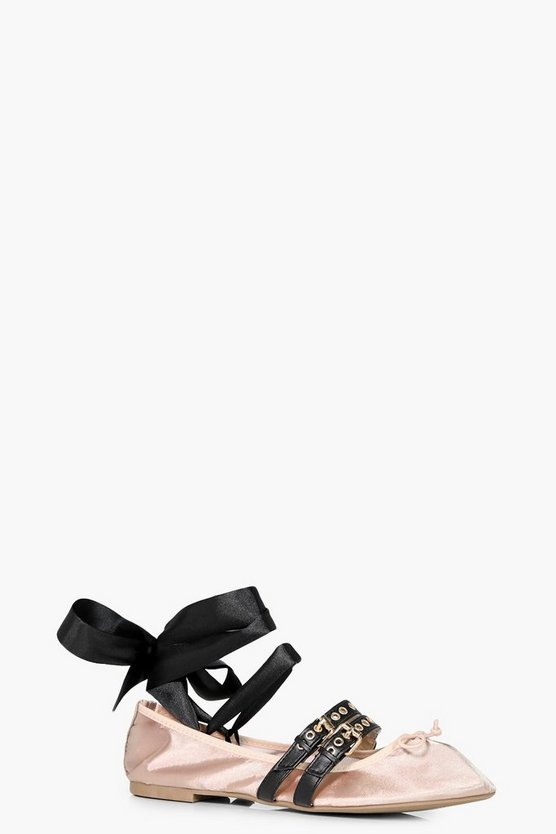 Heather Gingham Ribbon Lace Up Ballet