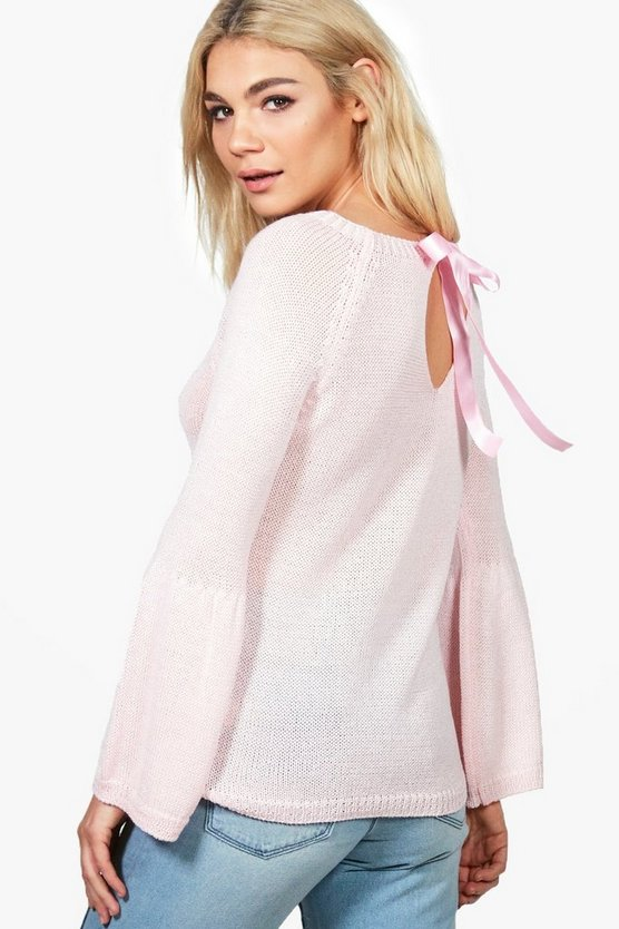 Georgia Lace Up Back Wide Sleeve Jumper