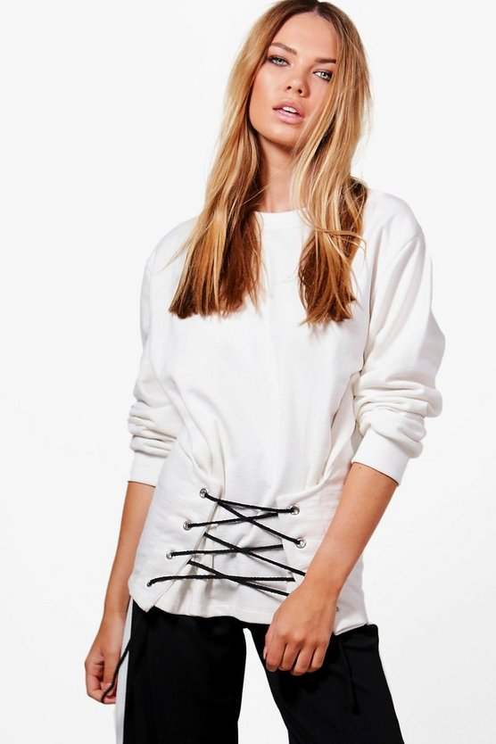 Aria Oversized Lace Up Sweat