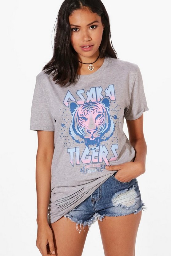 Rose Oversized Slogan Tiger Print Tee