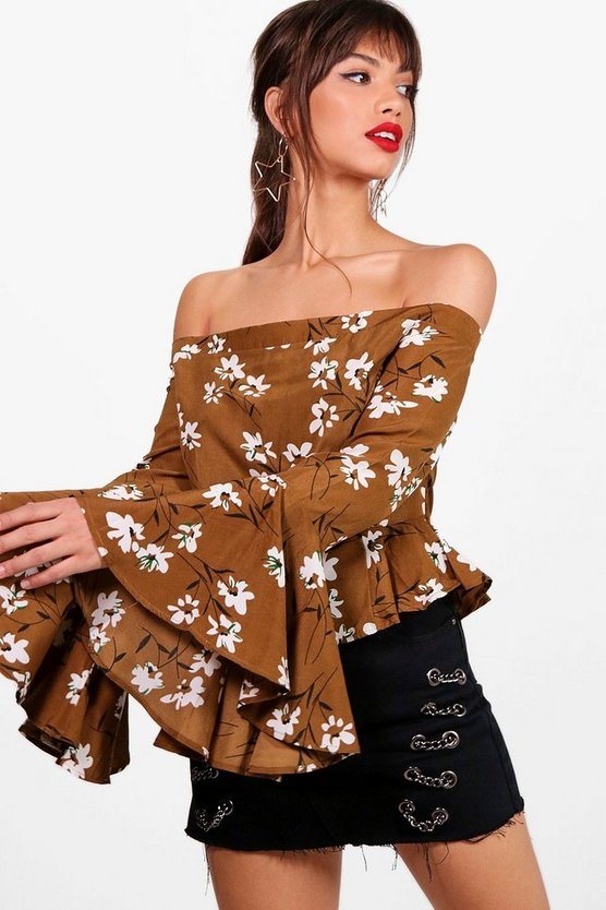 Floral Bardot Flare Sleeve Top