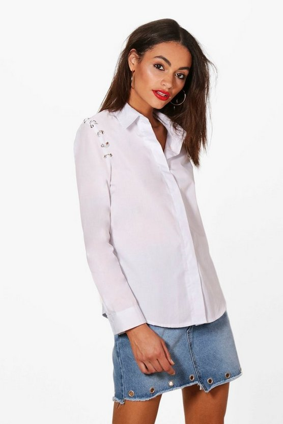 Lauren Woven Eyelet Shoulder Shirt