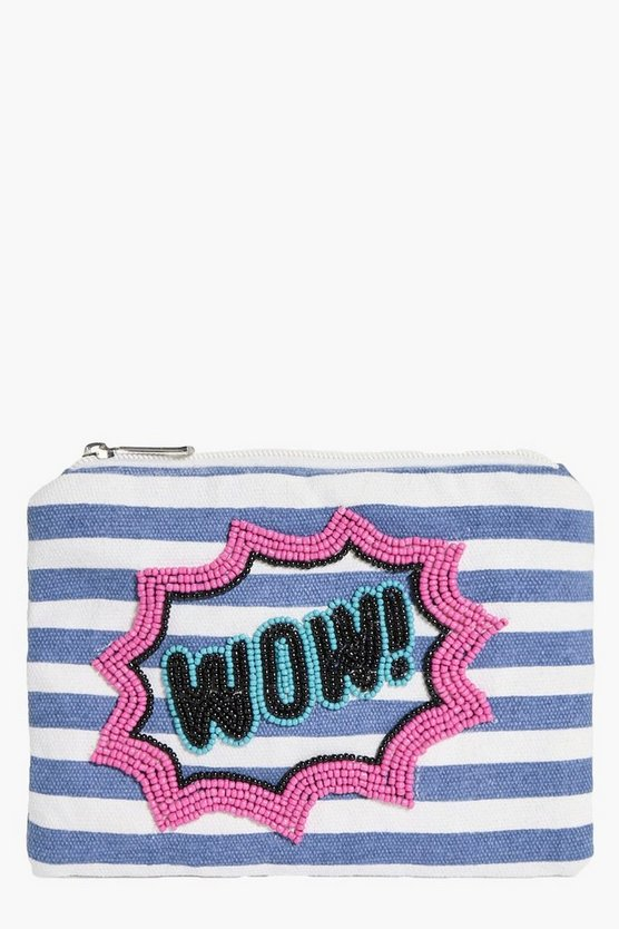Harriet Wow Slogan Canvas Purse