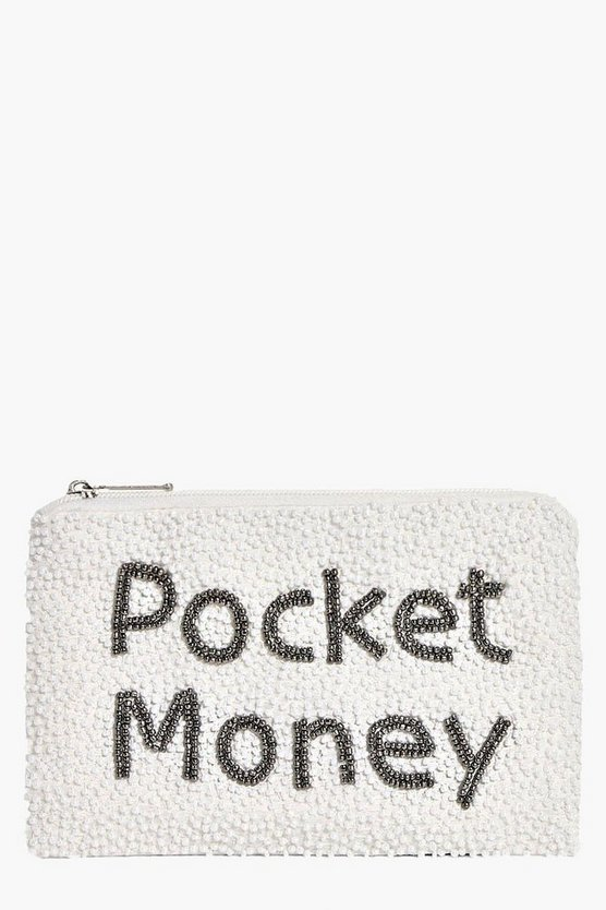 Anna Pocket Money Slogan Embellished Purse