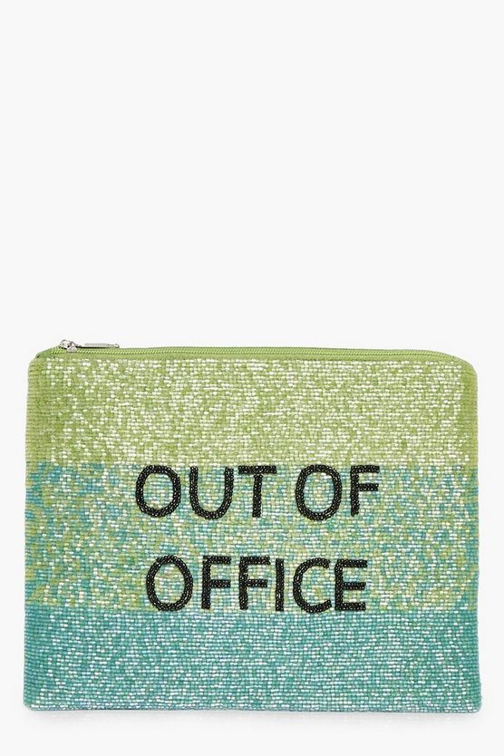 Erin Out Of Office Slogan Embellished Clutch