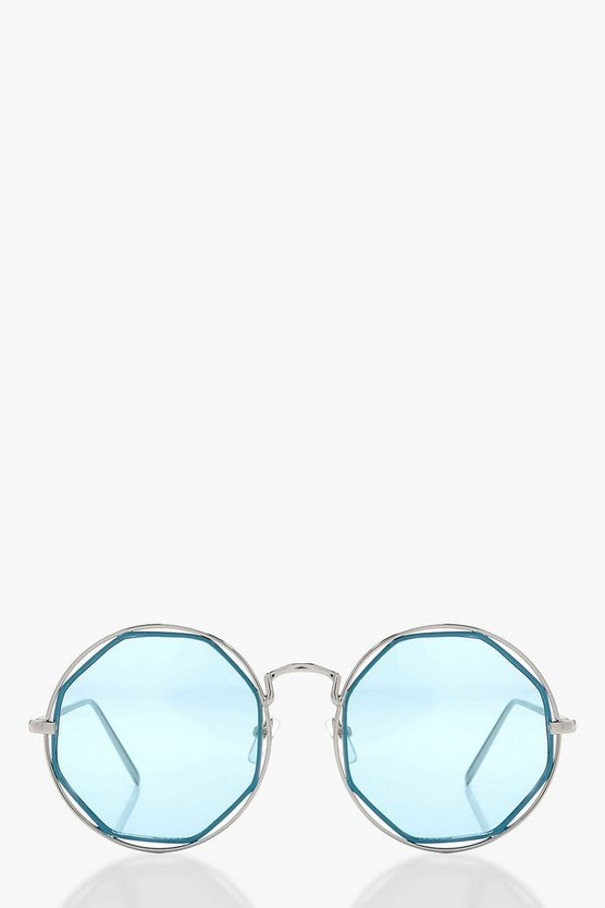 Amy Boutique Cut Out Blue Round Sunglasses