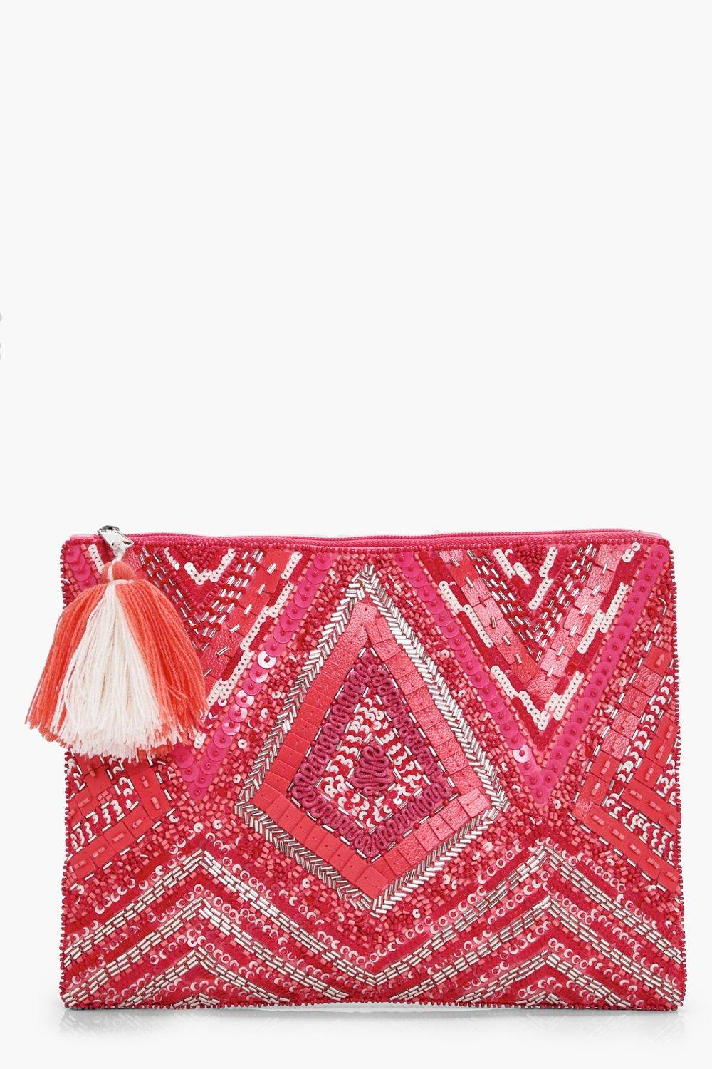 Pink Embellished Zip Top Clutch - pink - Grace Pin