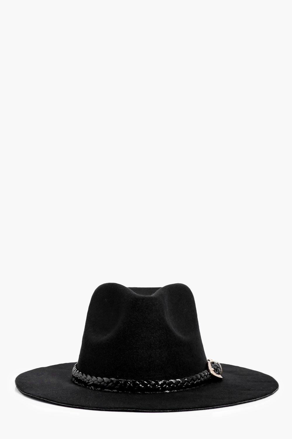 PU Plait Band Fedora - black - Emily PU Plait Band