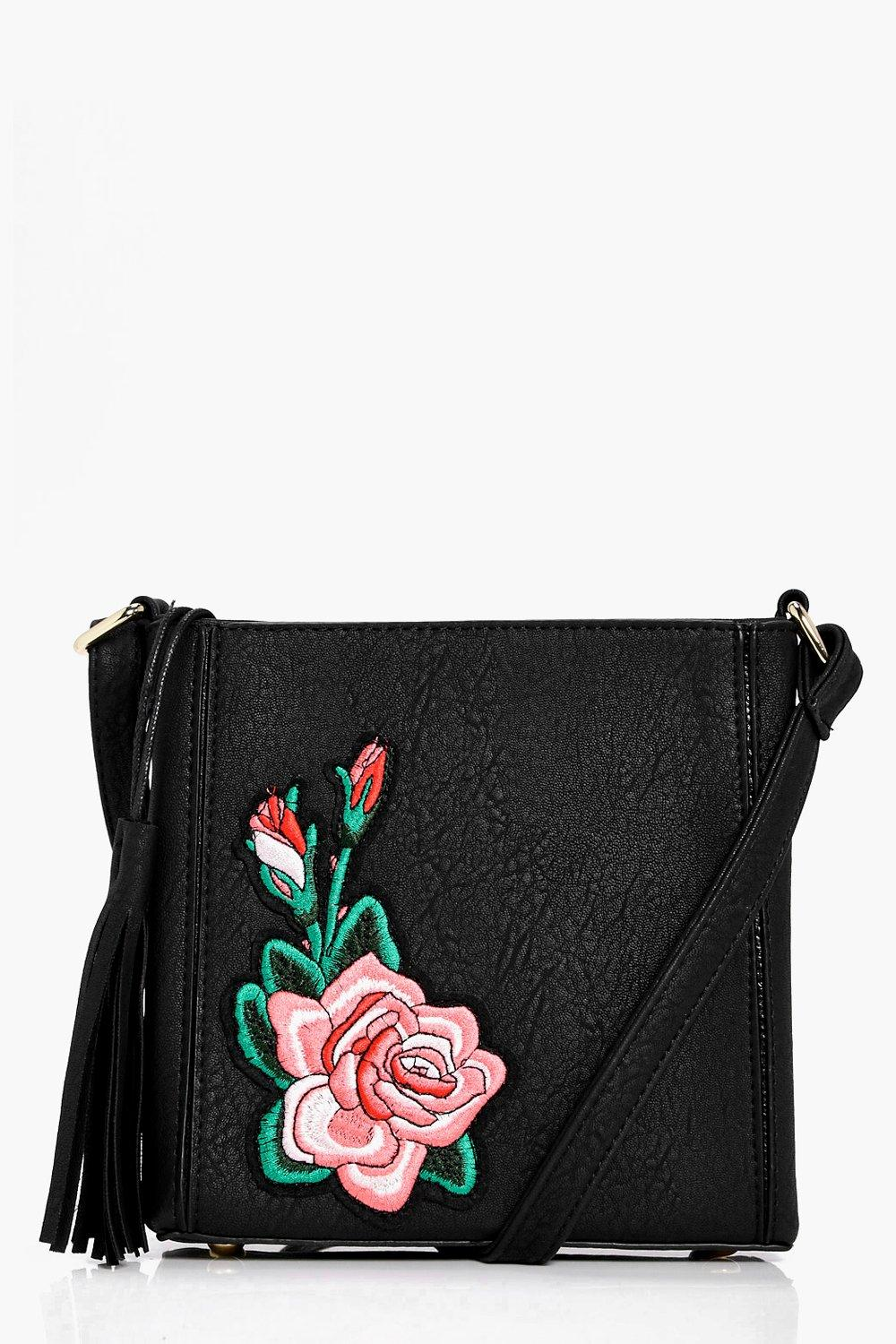 Rose Embroidered Cross Body Bag - black - Jessica