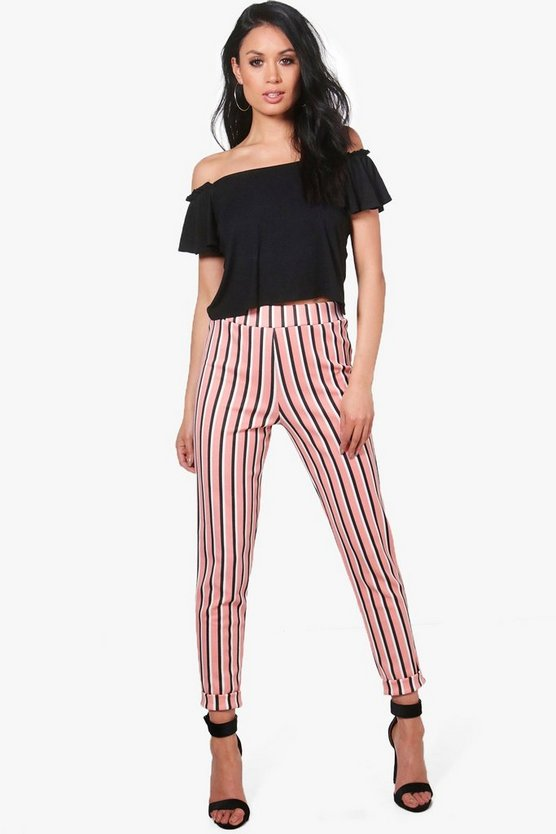 Jetta Candy Stripe Skinny Stretch Trousers