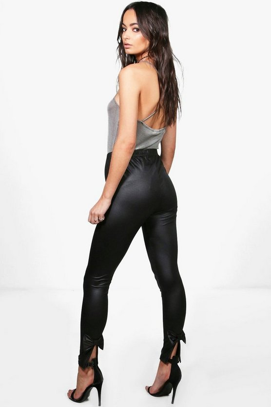 Alaska Bow Back Wet Look Leggings