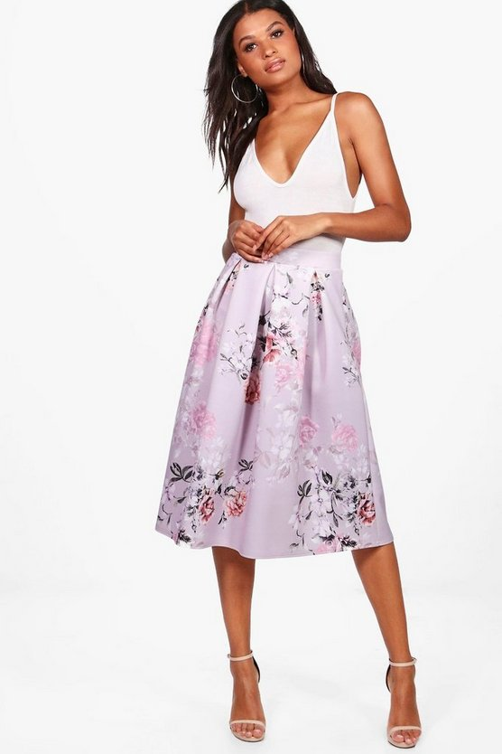 Avah Pastel Floral Box Pleat Midi Skirt