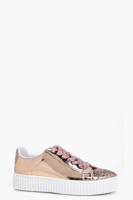 Emily Glitter Panel Ribbon Lace Up Trainer