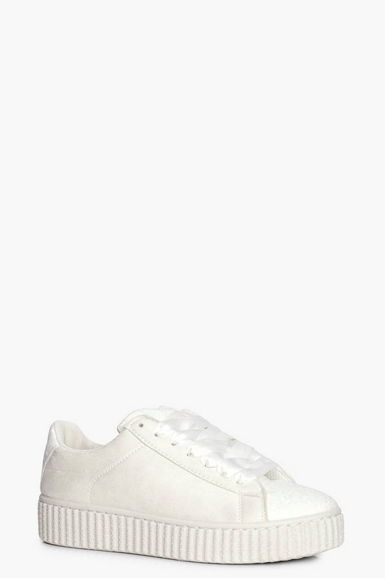 Emma Glitter Panel Ribbon Lace Trainer